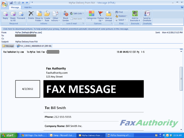 Screenshot of 1st page of fax from fax message received by MyFax