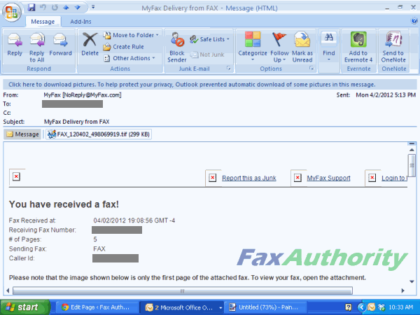 Screenshot of Fax received over email with MyFax