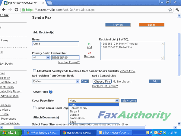 Screenshot of MyFax's online fax interface. Inputting information to be sent in the fax.