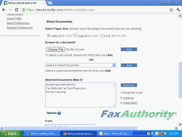 Screenshot of attaching files to MyFax's internet fax interface