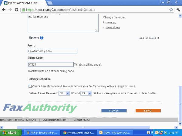 Screenshot of MyFax Online Fax Interface Additional Options
