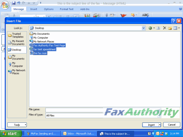 Screenshot of attaching files to MyFax to send an email to fax.