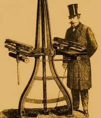 Giovanni Caselli with his invention the Pantelegraph