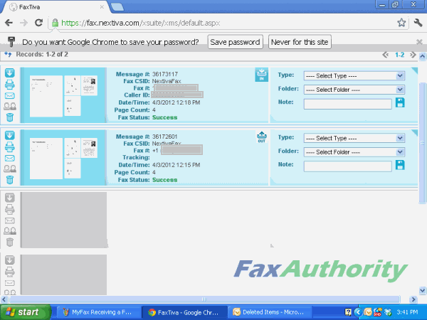 Screenshot of Nextiva's online fax interface for receiving faxes.