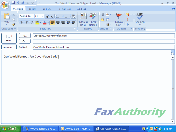 Screenshot of Sending a Email to Fax with Nextiva - Inputting Information