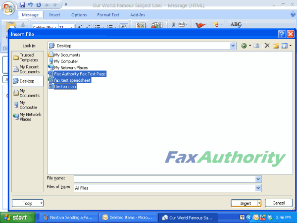 Screenshot of attaching files to a fax to be sent by email