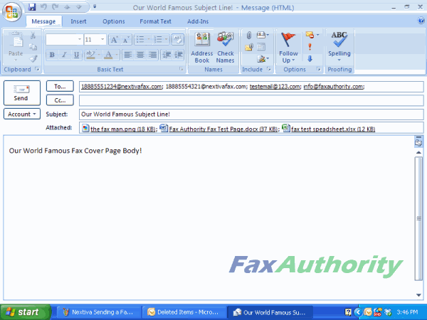 Screenshot of Sending a Fax over Email - Multiple Fax Numbers