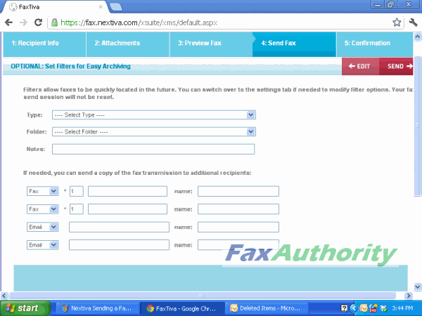 Screenshot of more options for Nextiva's online fax interface when sending a fax.