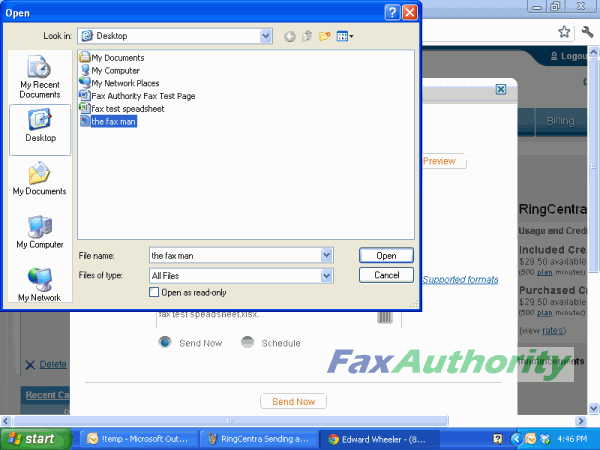 Screenshot of Attaching Files to a fax message in RingCentral's web interface