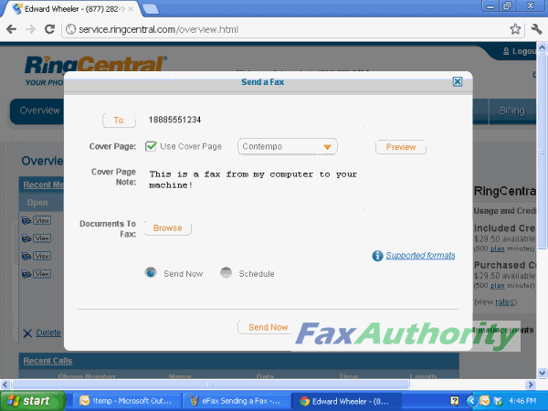 Screenshot of Sending a Fax through RingCentral's web interface