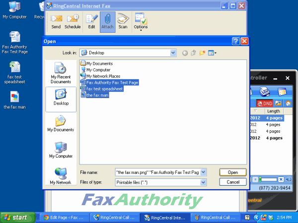 Screenshot of Attaching Files to RingCentral Call Controller to be Faxed