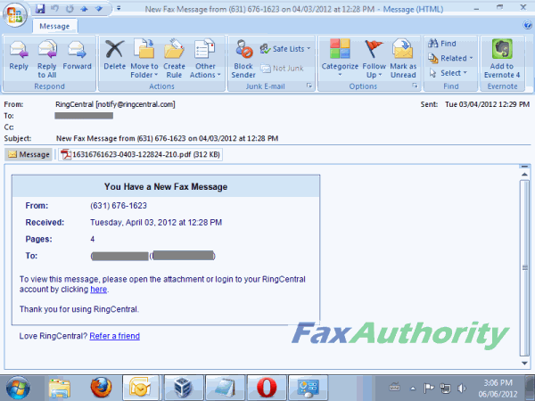 Screenshot of Received Fax Email from RingCentral