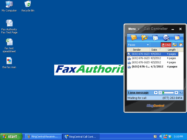 Screenshot of RingCentral Call Controller Fax Interface on Windows Desktop