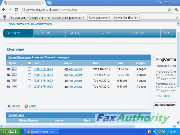 Screenshot of RingCentral web interface for online fax service