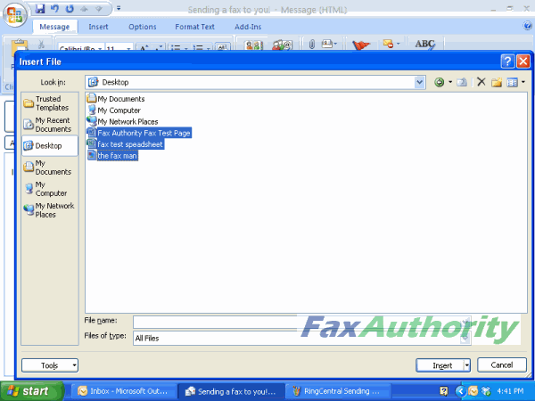 Screenshot of attaching files to send over RingCentral's email to fax service