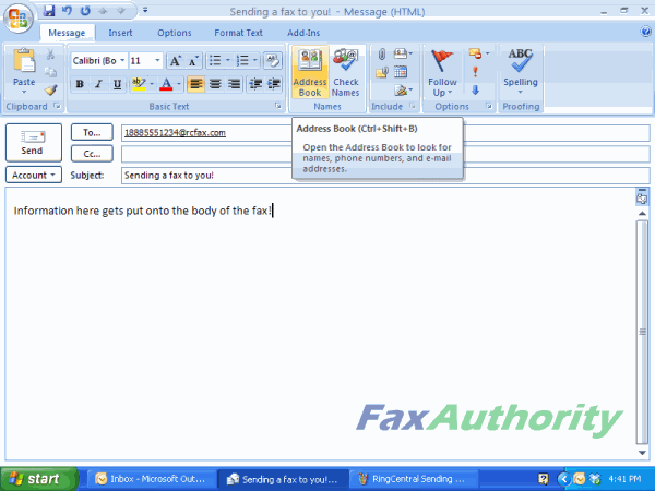 Inputting Information into an Email to Fax with RingCentral