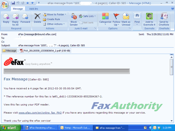 Receiving an Email Fax with eFax