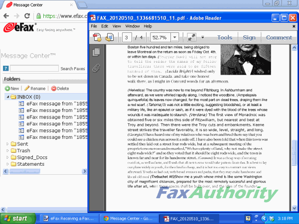 Received fax from eFax