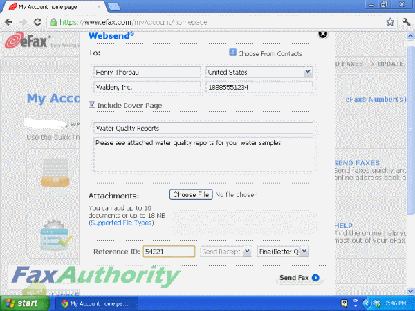 Information Fields for Sending a Fax over the Internet Interface with eFax