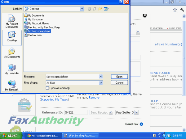 Attaching Files to eFax's Internet Fax System