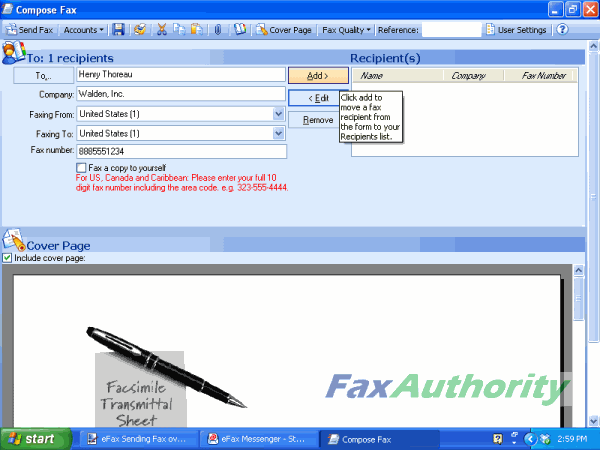 Sending a Fax with eFax Messenger - Put in Information of the Receiver