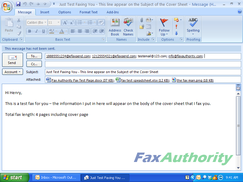 eFax - How to Send a Fax with Email - Multiple fax numbers and email addresses