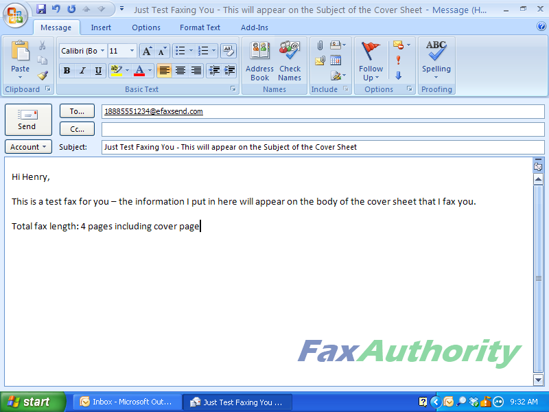 eFax Sending a Fax over Email 1 - Fax Number and Subject and Body of Email