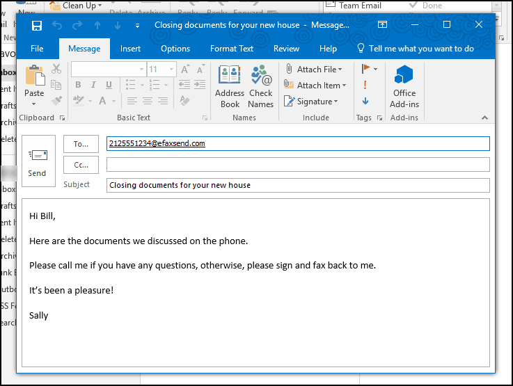Example of sending an email to fax with eFax