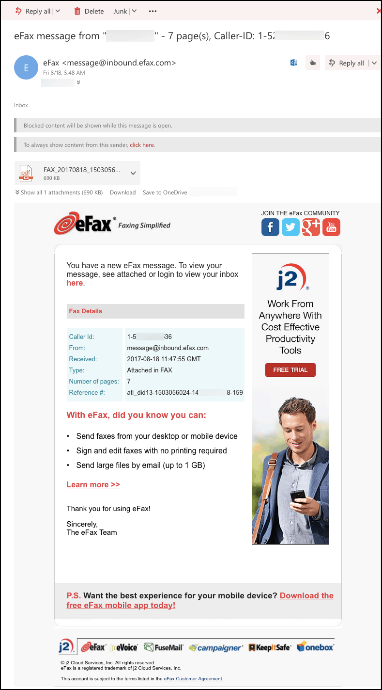 eFax receiving a fax to email