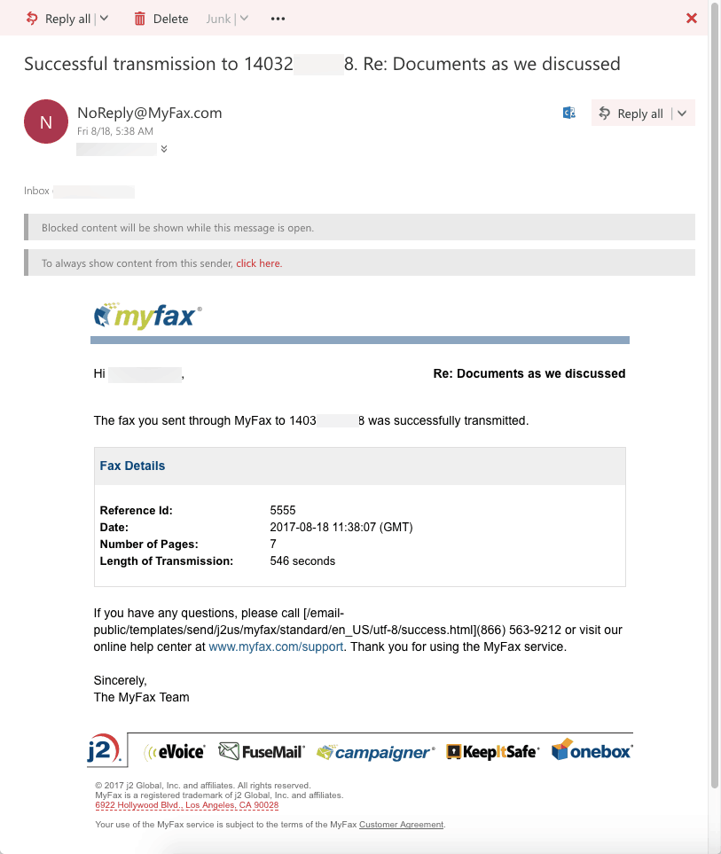 MyFax confirmation of delivery
