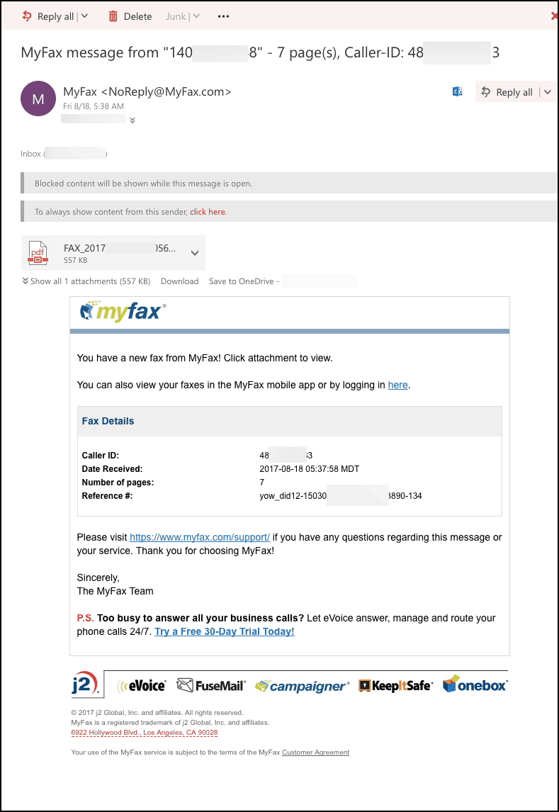 How to receive a fax to email with MyFax