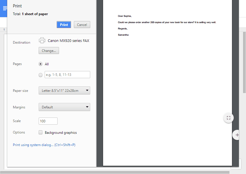 Faxing a Google Docs file with a connected fax machine.